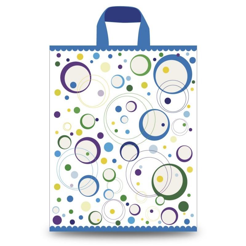 Bolsa de plástico 70% reciclado impresa con círculos retro, con un grosor de 200 galgas o 50 micras y un tamaño de 40X55/50 cm
