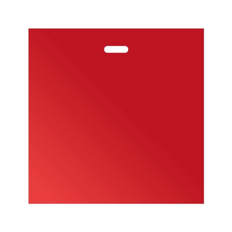 Bolsas de plástico con asa de troquel reciclado color rojo, estas bolsas tienen una medida de 60/50x50cm