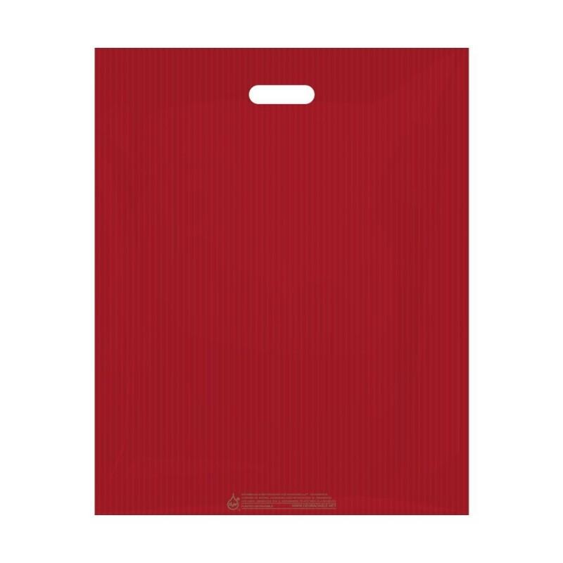 Bolsas de plástico reciclado con asa de troquel color rojo sin fuelle, 70% de plástico reciclado, tienen una medida de 40x50cm