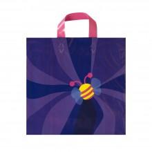 Abeja y Niña | Bolsa de plástico reutilizable con asa de lazo para comercio (Paquete 50uds.)