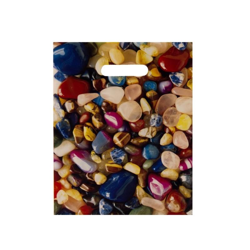 Bolsa de plástico 70% reciclado impresa con asa de troquel y fabricada con un grosor de 220 galgas o 55 micras