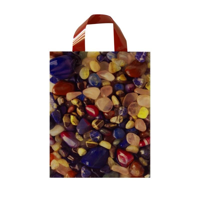 Bolsa de plástico 70% reciclado impresa con asa de lazo y fabricada con un grosor de 220 galgas o 55 micras