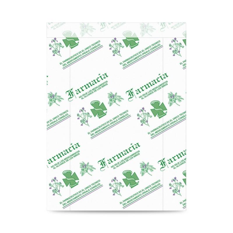 Sobre de papel blanco impreso para farmacia con asa plana con una medida 20+5x27 centímetros