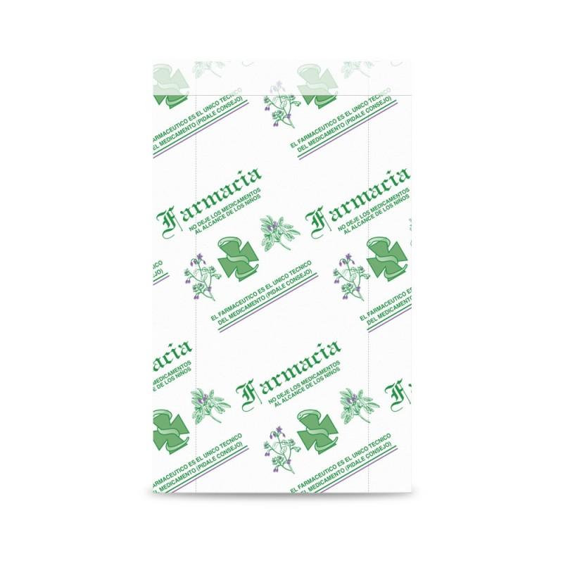 Sobre de papel blanco impreso para farmacia con asa plana con una medida 15+5x25 centímetros