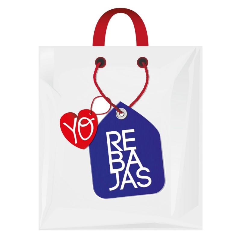 Bolsa de plástico lazo para rebajas fabricada con el 70% de plástico reciclado