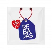 Bolsa de plástico troquel para rebajas fabricada con el 70% de plástico reciclado.