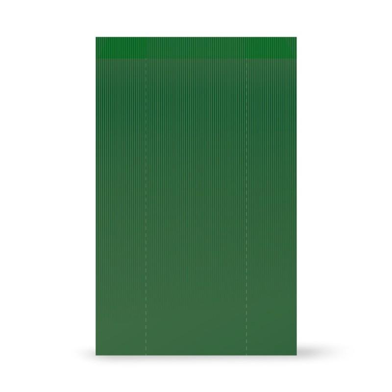 Sobres de papel kraft verjurado color verde botella con una medida de 30+5x50, fabricado con un papel de 50 gramos.