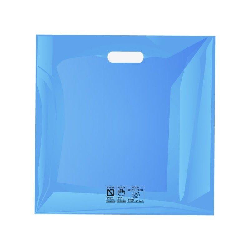 Bolsa de plástico reutilizable azul cuadrada