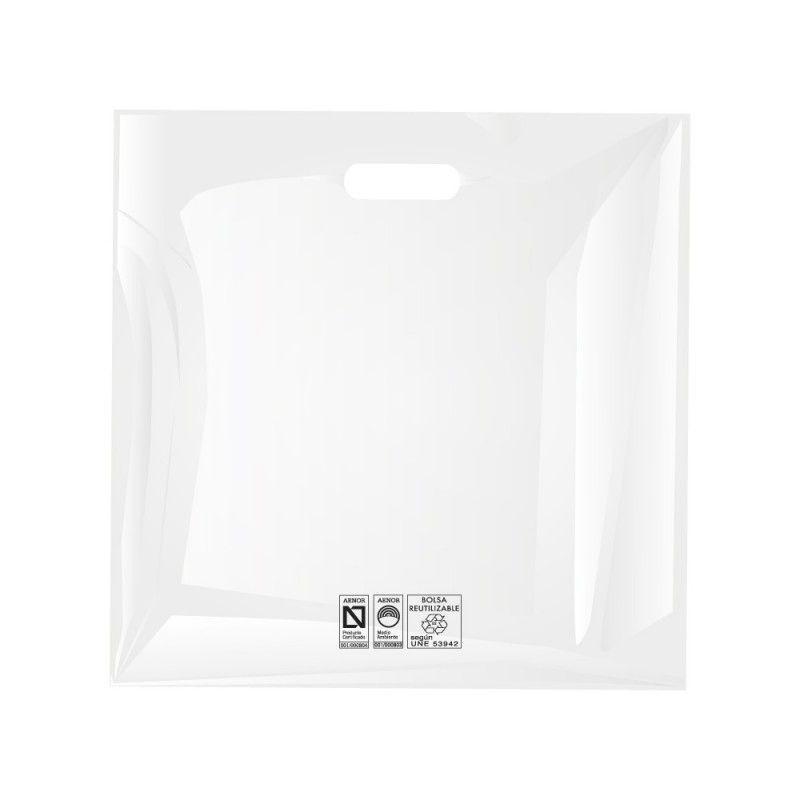 Bolsas de plástico reciclado color blanco con asa de troquel y fabricada con un grosor de 220 galgas o 55 micras