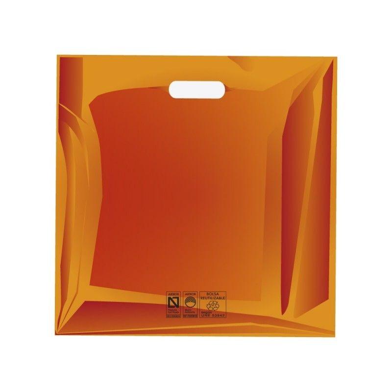 Bolsas de plástico reciclado color naranja con asa de troquel y fabricada con un grosor de 220 galgas o 55 micras