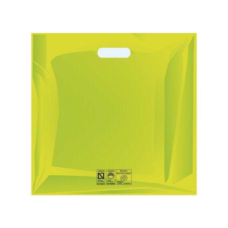 Bolsas de plástico reciclado color verde con asa de troquel y fabricada con un grosor de 220 galgas o 55 micras