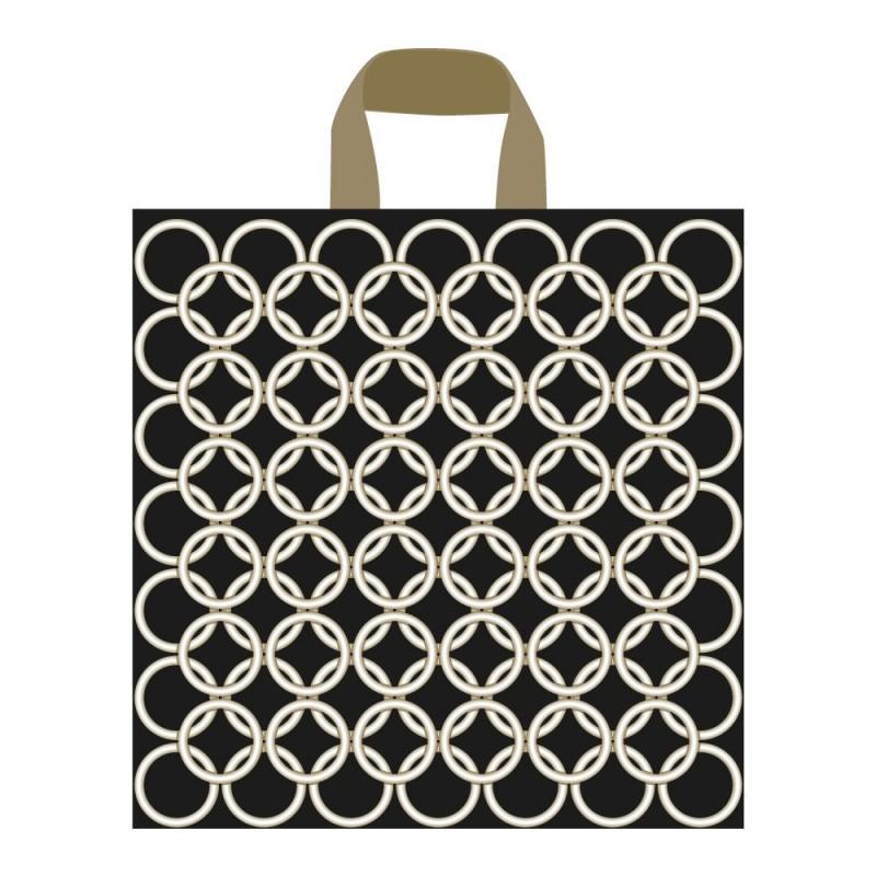 Bolsa de plástico con un diseño de aros color oro para tienda con asa de lazo en tamaño 35x40/35 cm