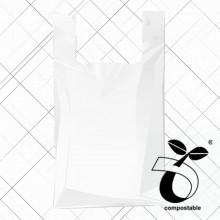 Bolsa anónima de fécula de maíz (biodegradable y compostable) con asa de camiseta