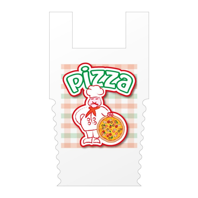 Pizzería Grande | Bolsa de plástico para llevar pizza (Paquete 200uds.)