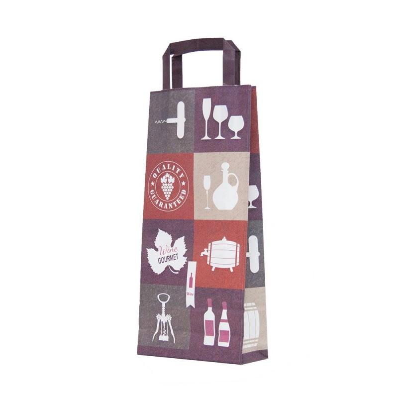Bolsas de papel de asa plana para botellas de vino con una medida de 18+8x39cm