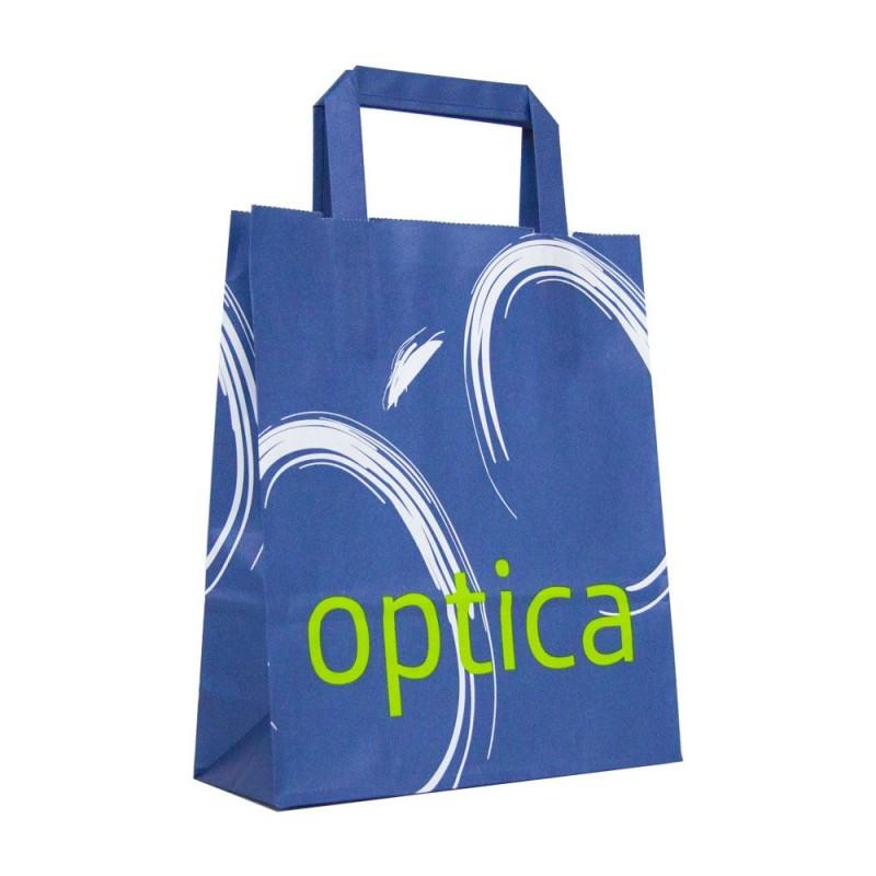 Bolsa de papel impresa para óptica con asa plana, fabricada con papel de color blnaco de 80 gramos y con una medida 21+8x24 cm.