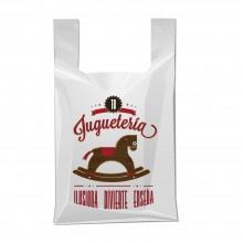 Bolsa de plástico 70% reciclado para juguetería con asa de camiseta y fabricada con un grosor de 200 galgas o 50 micras