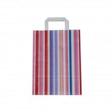 Bolsa de papel impresa con lineas con asa plana | 25+9x34 cm | Caja 175uds