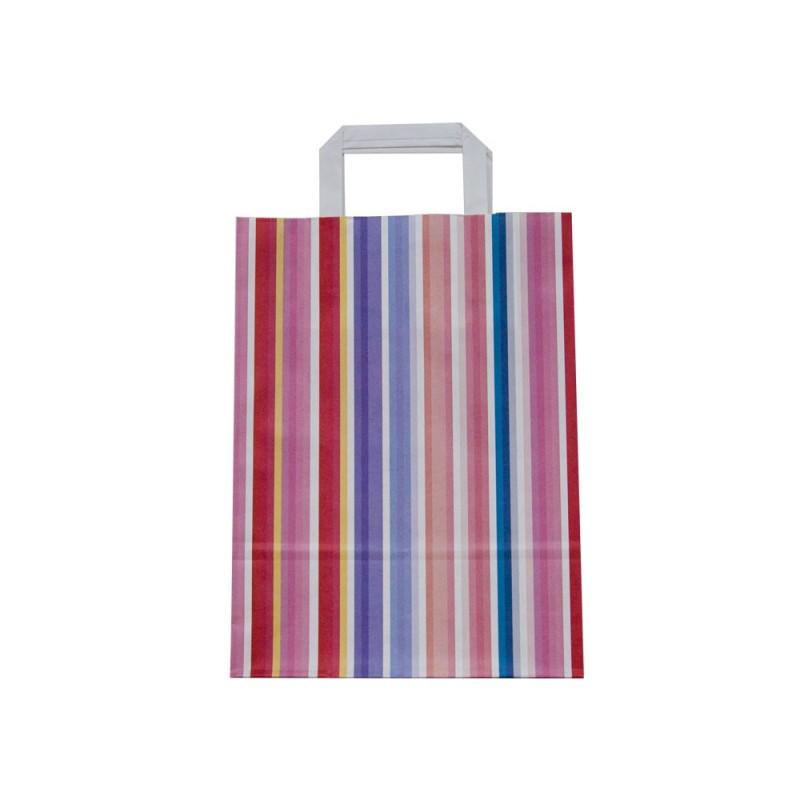d7654c874 Caja de 175 unidades de bolsas de papel con asa plana impresas con lineas  de colores, una bolsa de un tamaño medio que se adaptara bien a tus  necesidades, ...