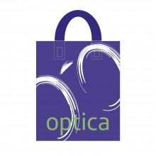 Bolsa de plástico 70% reciclado para óptica con asa de lazo y fabricada con un grosor de 220 galgas o 55 micras