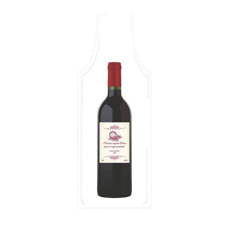 Bolsa de plástico reciclado para botellas de vino con una medida de 15x50/40 centímetros, contiene un 70% de material reciclado