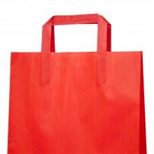 Roja 25+9x34 | Bolsa de papel roja con asa plana (Paquete 175uds.)