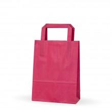 Bolsa de papel rosa fucsia con asa plana, fabricada con papel de celulosa de 80 gramos