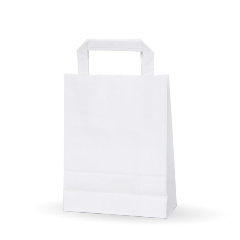 Bolsa de papel blanca con asa plana, fabricada con papel de color blanco de 80 gramos, con una medida de 18+8x24