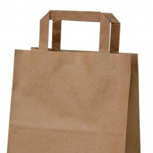 Bolsa de papel kraft con asa plana, medida 18+x8x24, papel 80 gramos.