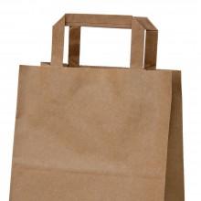 Camel 21+13x26 | Bolsa de papel kraft marrón con asa plana (Caja 225uds.)