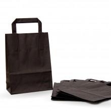 Bolsa de papel negra con asa plana, fabricada con un papel de 80 gramos y una medida de 18+8x24 cm