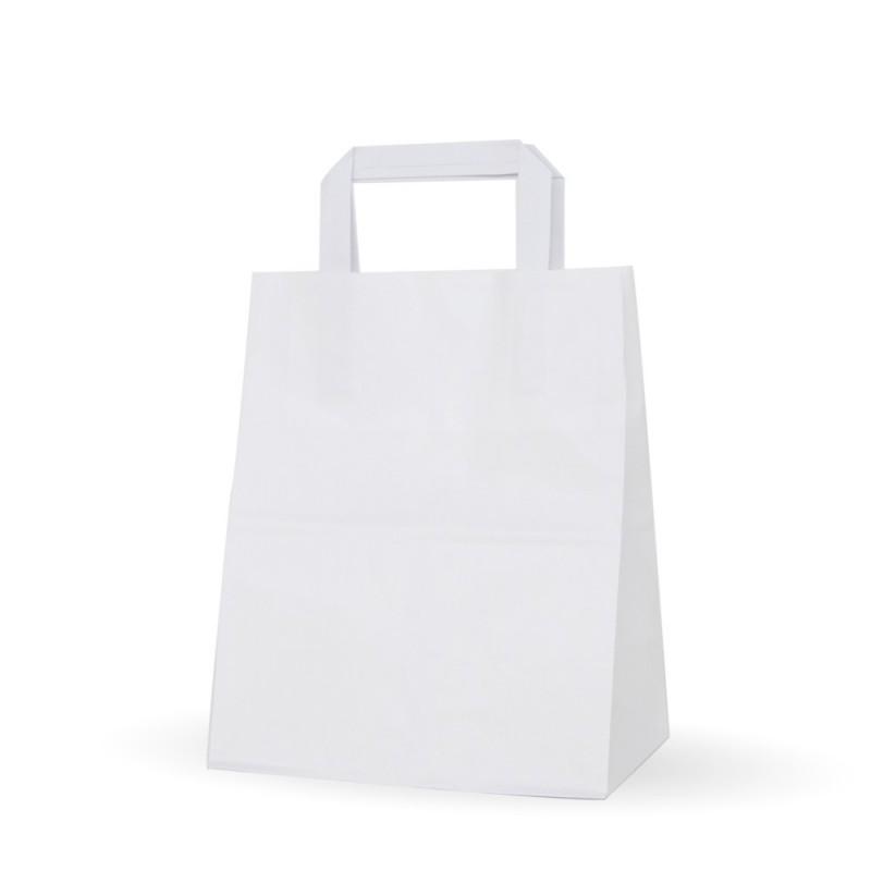 Bolsa de papel blanca con asa plana 21+13x26, fabricada con papel de color blanco de 80 gramos