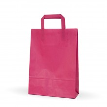 Fucsia 25+9x34 | Bolsa de papel con asa plana (Caja 175uds.)