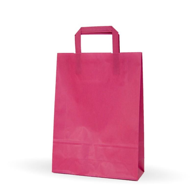 Bolsa de papel rosa fucsia con asa plana, fabricada con papel de color fucsia de 80 gramos