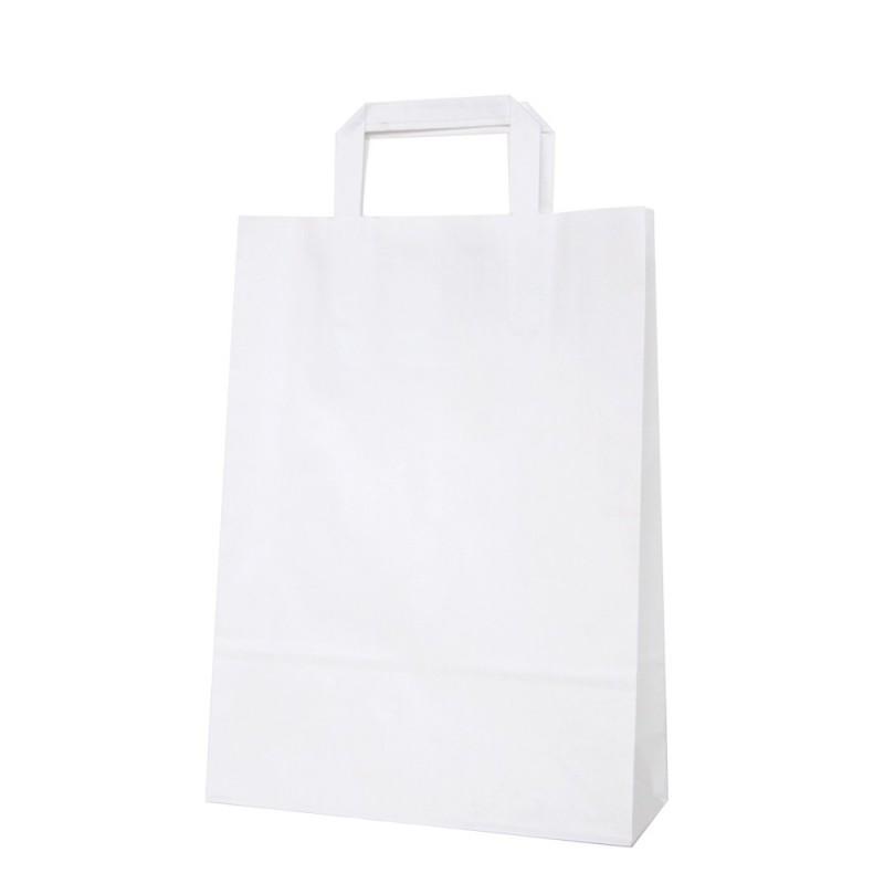 Bolsa de papel blanca con asa plana, fabricada con papel de color blanco de 80 gramos, con una medida de 25+9x34