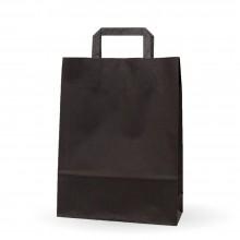 Negra 25+9x34 | Bolsa de papel con asa plana de celulosa (Caja 150uds.)