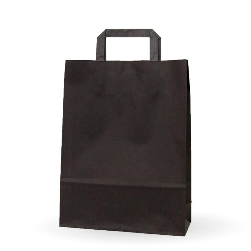 d6e766e65 Caja de 200 unidades de bolsas de papel con asa plana de color negro,  disponible en varias medias, un bolsa genérica de un color llamativo para  tu negocio, ...