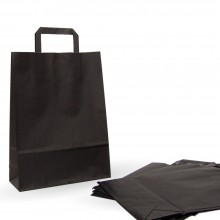 Bolsa de papel negra con asa plana, fabricada con un papel de 100 gramos y una medida de 25+9x34 cm