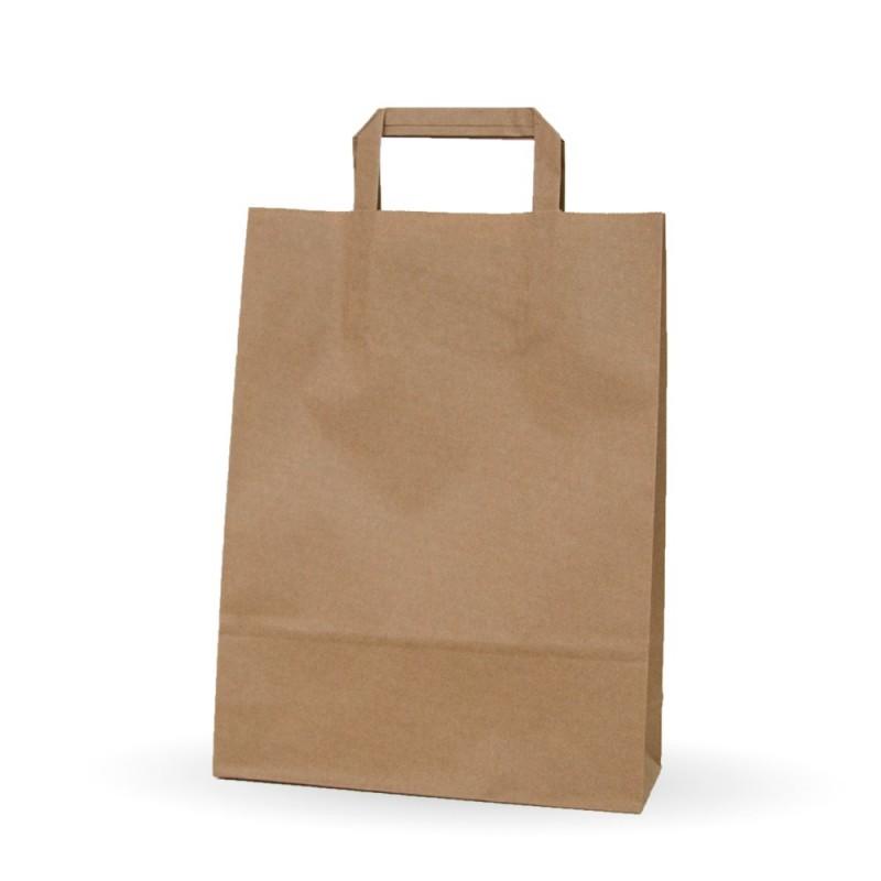 Bolsa de papel kraft con asa plana, medida 25+9x34, papel 80 gramos.