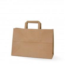 Camel 32+12x22 | Bolsa de papel kraft marrón con asa plana (Caja 125uds.)