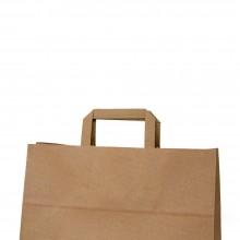 Bolsa de papel kraft con asa plana con papel de 100 gramos.