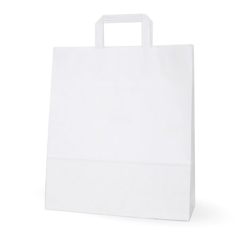 Bolsa de papel blanca con asa plana, fabricada con papel de color blanco de 100 gramos, con una medida de 32+12x37