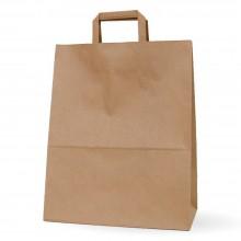Bolsa de papel kraft con asa plana, fabricada con papel de color marrón de 100 gramos y con una medida 32+17x40cm