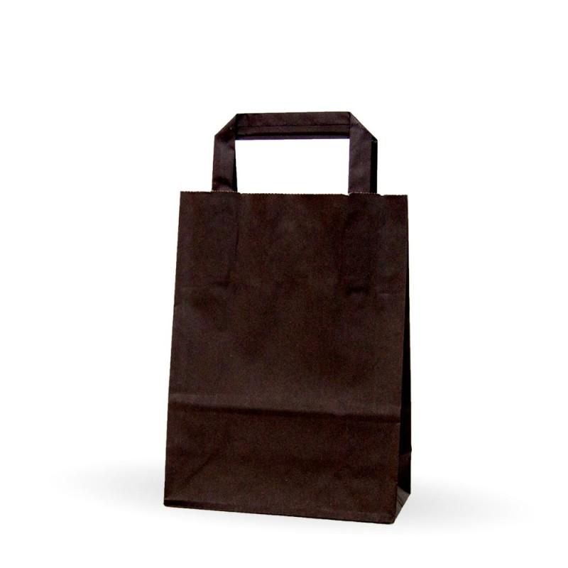 927974da7 Caja de 225 unidades de bolsas de papel con asa plana de color negro,  disponible en varias medias, un bolsa genérica de un color llamativo para  tu negocio, ...