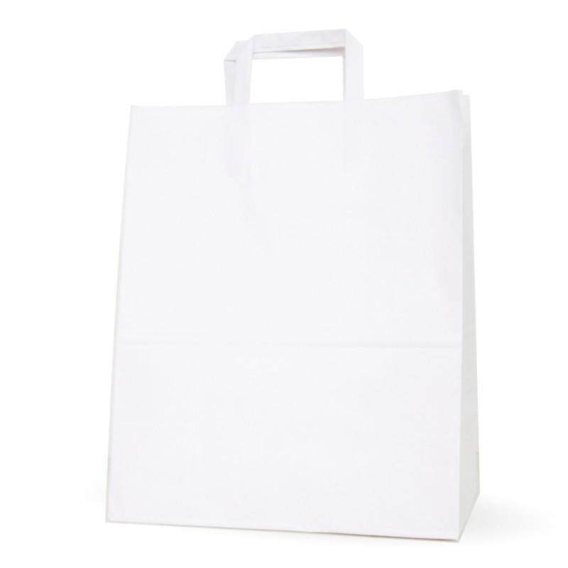 Bolsa de papel blanca con asa plana, con una medida de 32+x17x40, fabricada con papel de color blanco de 100 gramos.