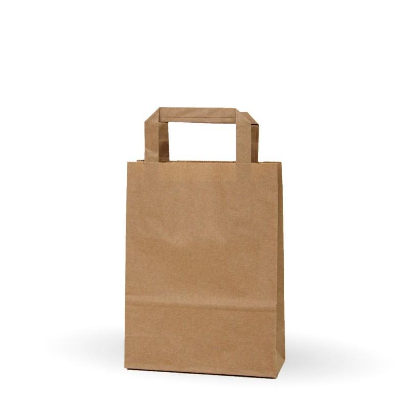 81d1804ebc3569 Camel 18+8x24   Bolsa de papel kraft marrón con asa plana (Caja 225uds.)