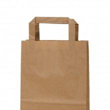 Camel 18+8x24 | Bolsa de papel kraft marrón con asa plana (Caja 225uds.)