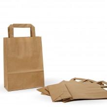 Bolsa de papel kraft marrón con asa plana, color kraft marrón.