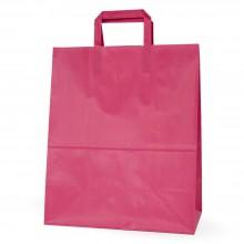 Bolsa de papel rosa fucsia con asa plana, fabricada con papel de celulosa de 100 gramos