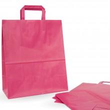 Bolsa de papel con asa plana color rosa fucsia, fabricada con papel de 100 gramos